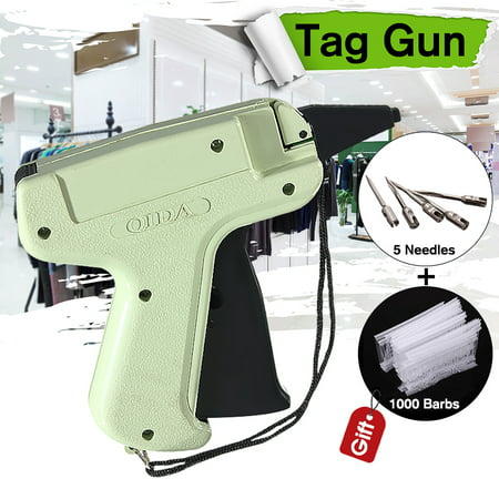 Clothes Regular Garment Price Label Tagging Tag Gun + 5 Needle labeltagging + 1000 Barbs Pins Kit This Tagging Gun with 1000 attachment fasteners and 1  long needle is ideal for all of your light weight, medium weight and heavy weight tagging applications. Designed for use with fabrics including wool, linen, cotton, denim, polyester, synthetic, natural, and others fabrics. Not for use on silk, fine, or delicate fabrics. Features: 1. Tag attaching gun, with steel needle and plastic pin. 2. Use in attaching barcode or price tags to clothing. 3. Simple use, smaller more comfortable grip, druable. 4. Save manpower, reduces the cost. Specifications: Material: Plastic and metal Gun Weight: About 130g Length Of Plastic Pin: 50mm Package Includes: 1 x Tagging Gun 5 x Steel Needle 1000 x Plastic pin