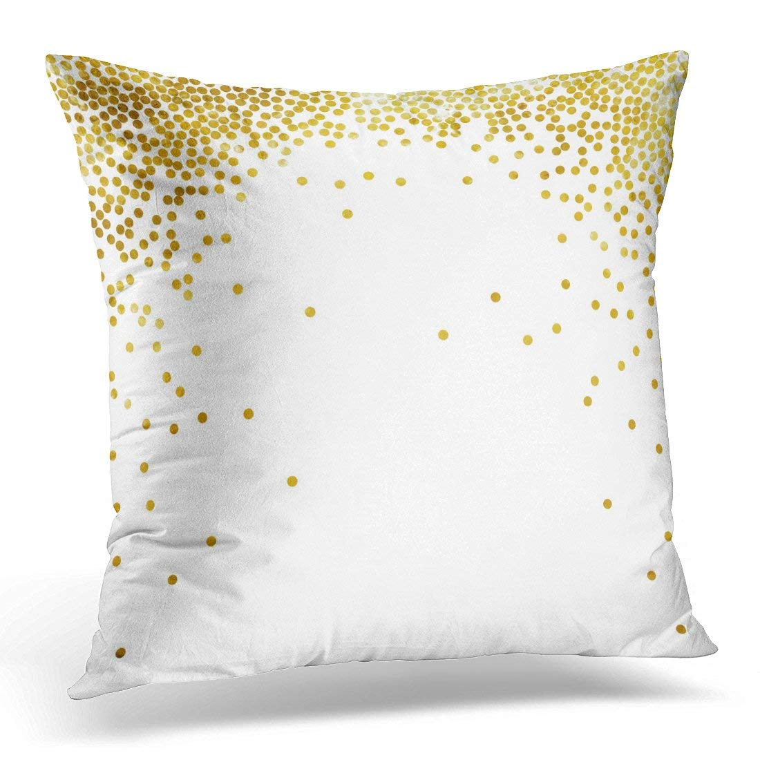 USART White Abstract Gold Glitter Polka Dot Yellow Birthday Pillow Case Pillow Cover 20x20 inch