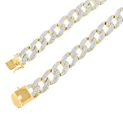 14k Yellow Gold Finish Lab Diamond Miami Cuban Link Iced Out Mens Chain Necklace