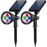 AMIR 2 in 1 Solar Spotlights, Upgraded Solar Garden Light Outdoor, Waterproof 4 LED Landscape Lighting, Solar Wall Light with Auto On/ Off for Yard Driveway Pathway Pool Patio (2 Pack, Changing Color)