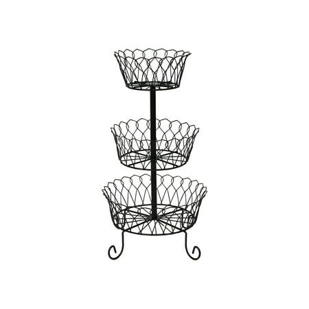 Home District 3 Tier Iron Fruit Basket Stand - Footed Wire Graduated Food Storage Bowls for Countertop and Dining (Bow Dining Table)