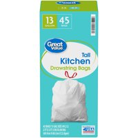 Great Value 13 Gallon Tall Kitchen Drawstring Bags 45 ct Box
