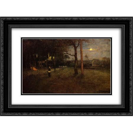 George Inness 2x Matted 24x20 Black Ornate Framed Art Print 'Moonlight, Tarpon Springs, Florida'