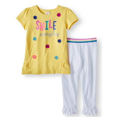 Peplum Top and Ruffle Legging, 2-Piece Outfit Set (Little Girls & Big - Legging Outfits For Summer