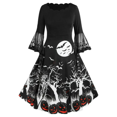 Dress In Drag For Halloween (Women Fashion Lace Flare Sleeve Halloween Print Knee Length)
