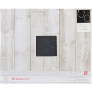 Patterned D-Ring 12 Inch X 12 Inch Album-Faux Wood - White