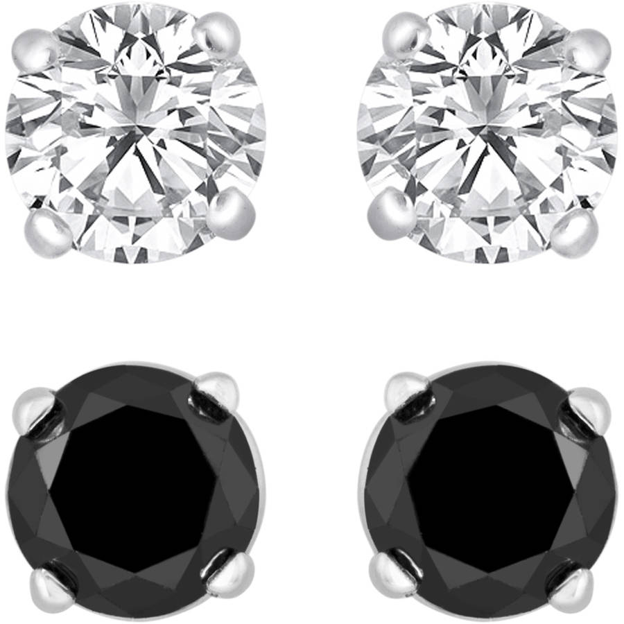 5/8 Carat T.W. Round Black and White Diamond 10kt Gold Earring Set, 2 Pairs