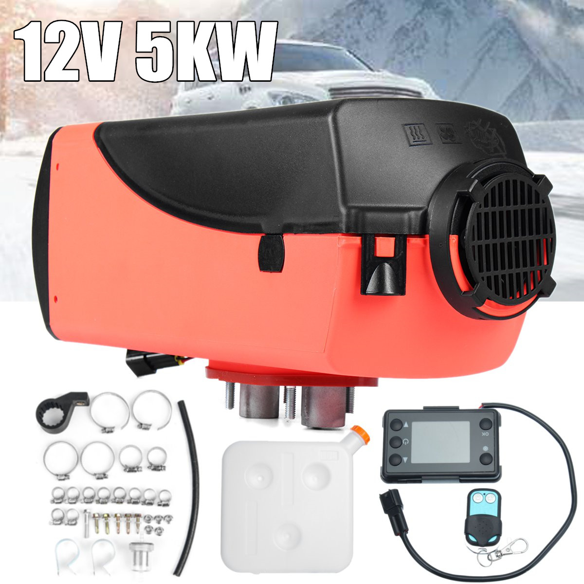 Fuel Diesel Air Heater 5KW 12V LCD Switch+Remote Control For Trucks Motorhomes