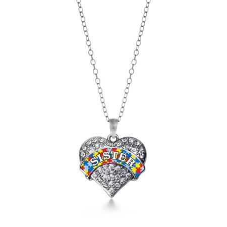 Autism Sister Pave Heart Necklace