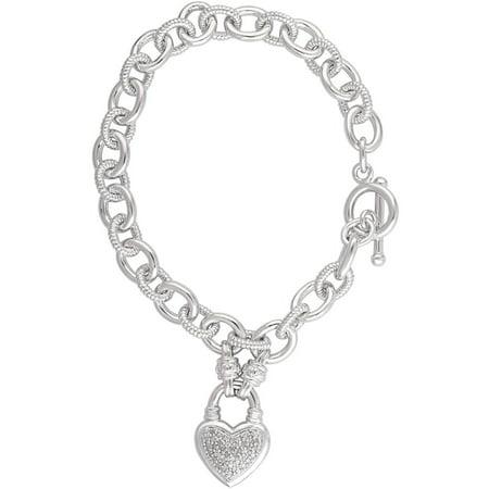 "1/4 Carat T.W. Diamond Rhodium-Plated Heart Link Charm Bracelet, 7.5"""