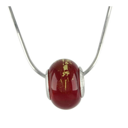 LovelyCharms 925 Sterling Silver Red Theme Murano Glass Crystal Beads Pandora Necklace
