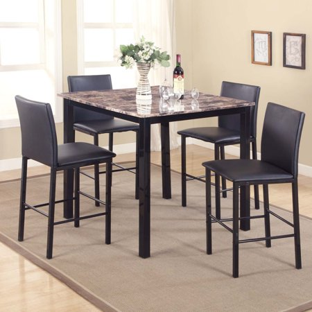 Roundhill Furniture Citico 5 Piece Counter Height Dinette Set