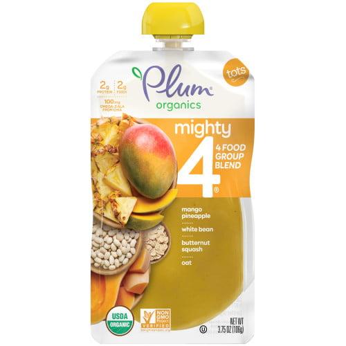 Plum Organics Mighty 4 Blends Mango & Pineapple, White Bean, Butternut Squash, Oats , 3.75 oz