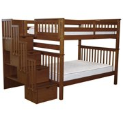 Bedz King Stairway Bunk Beds Full over Full with 4 Drawers in the Steps, Espresso