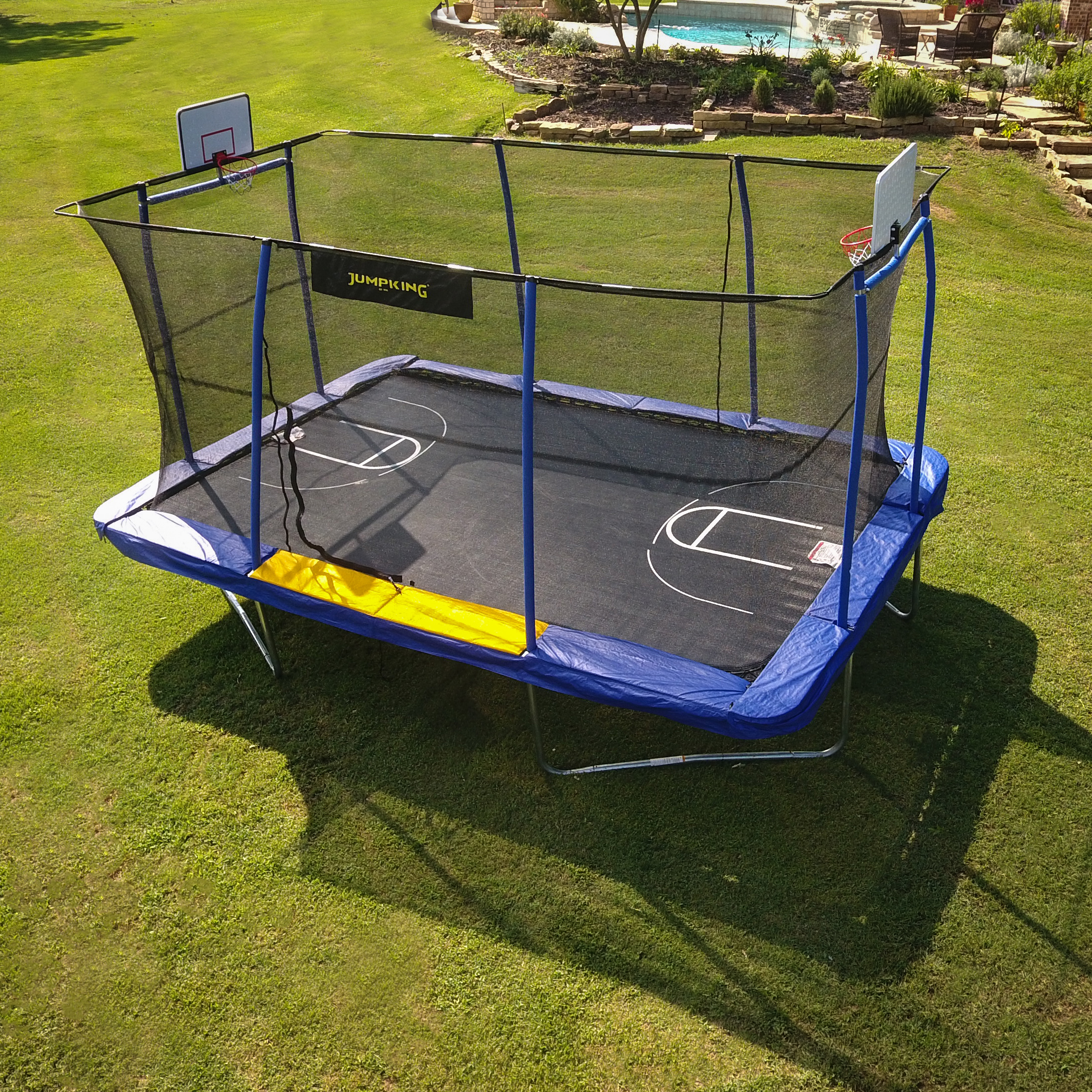 Jumpking Rectangle 10 X 15 Trampoline With 2 Basketball Hoops Footstep And Court Print Blue Yellow Walmart Com Walmart Com