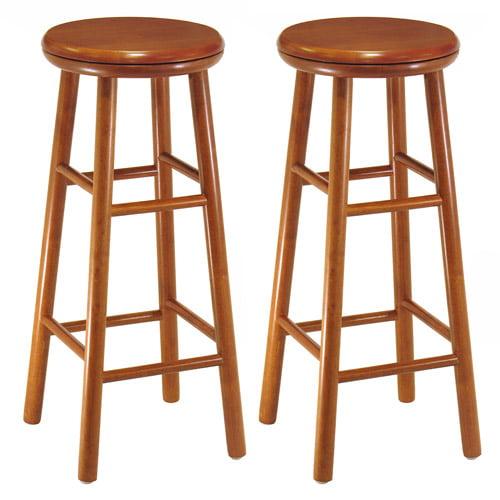 "Wood Swivel Seat Kitchen Stool, 30"", Set of 2, Cherry"