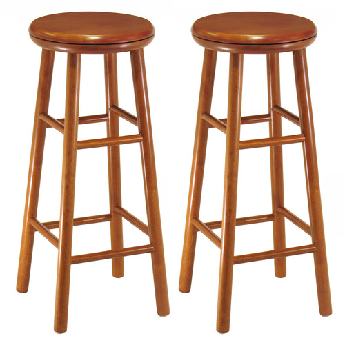 """Winsome 30"""" Backless Swivel Bar Stools in Cherry (Set of 2)"""