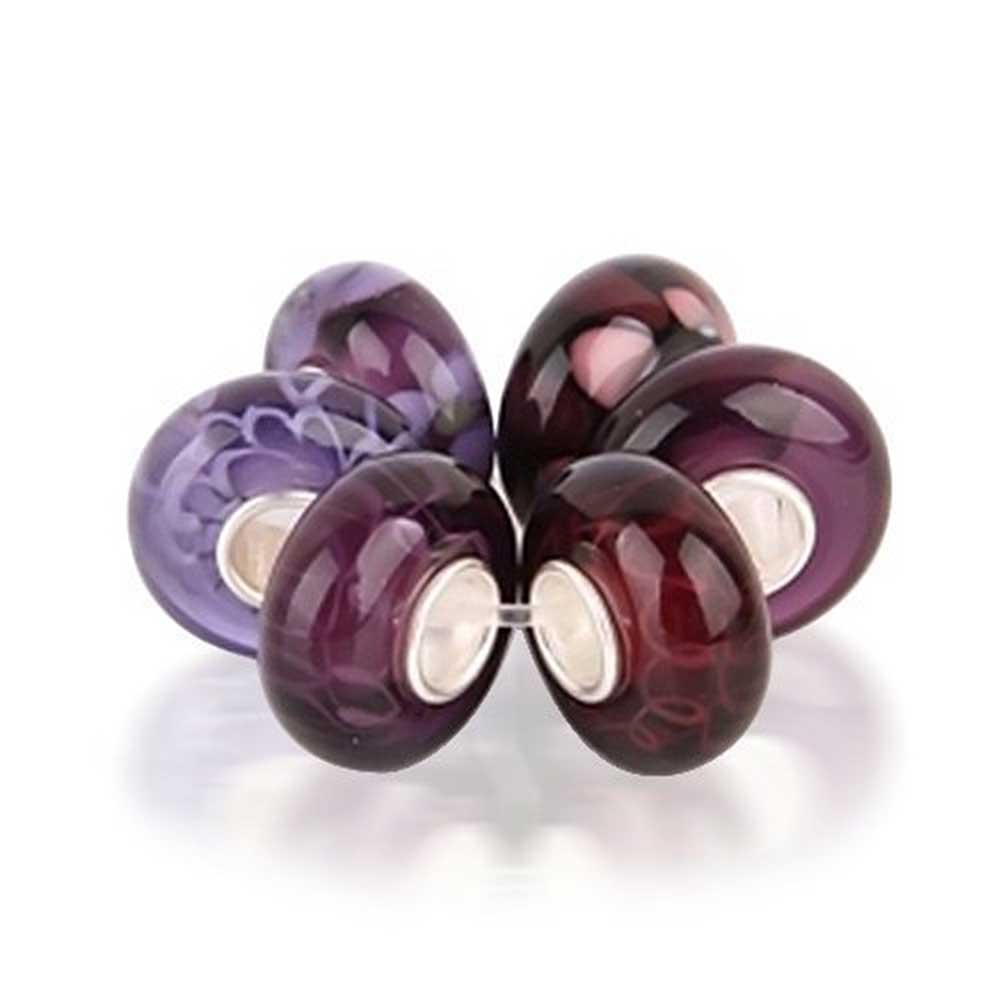 Purple Round Murano Glass Mix Of 6 Sterling Silver Core Spacer Bead Fits European Charm Bracelet For Women For Teen