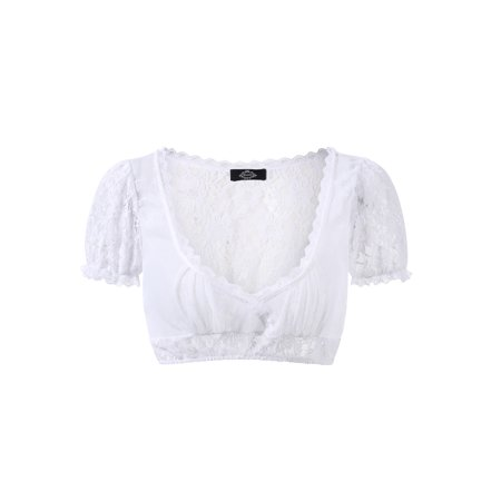 Women's Beer Festival Sexy See-Through Dirndl Solid Lace Chiffon Splicing Stylish Dirndl Top - image 8 de 8