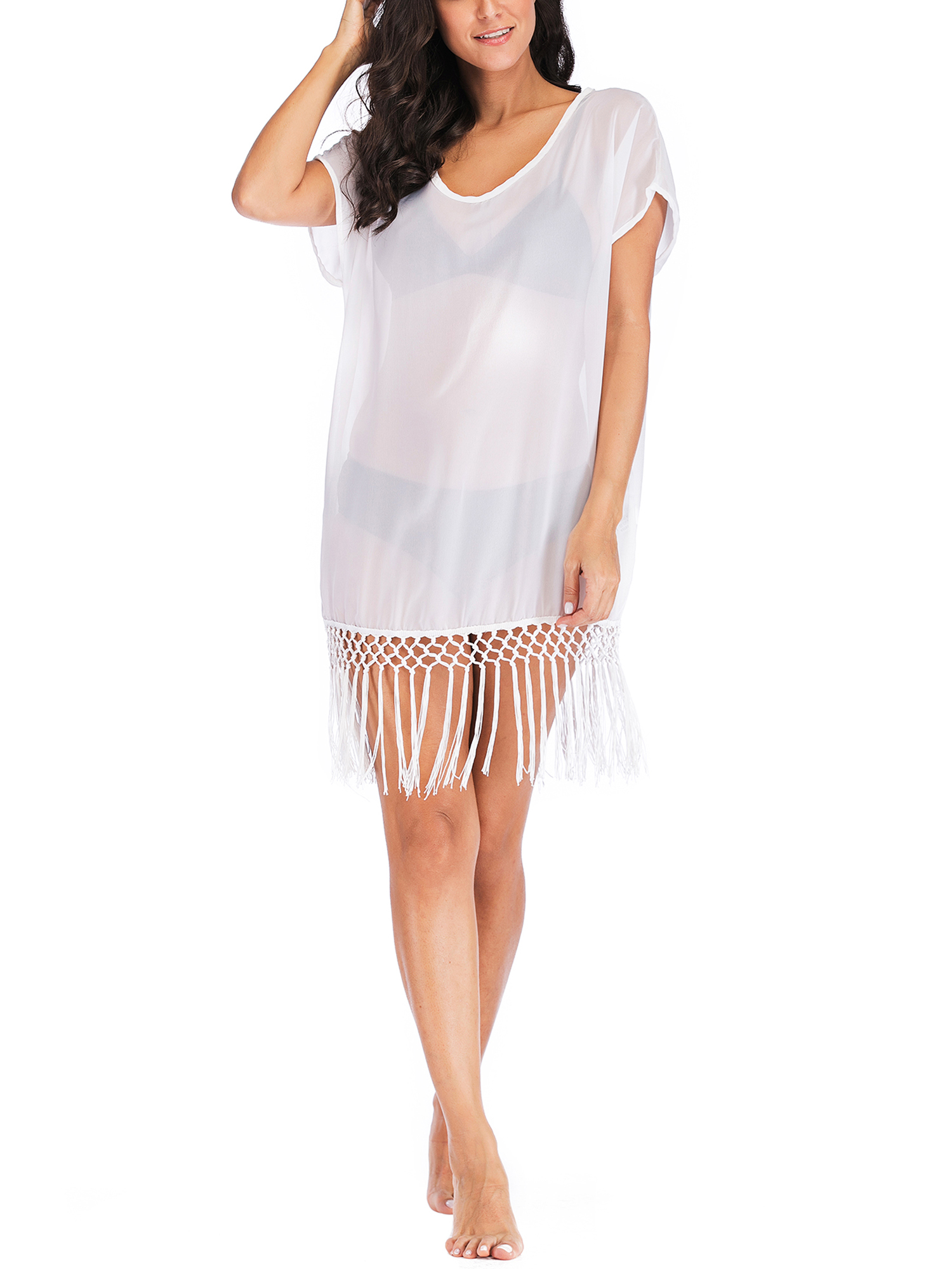 Swim Cover ups Women Bikini Beachwear V-neck Loose Beach Dress Tops Summer Bathing Suit with Tassels Irregular Hems Loose Fit Poncho