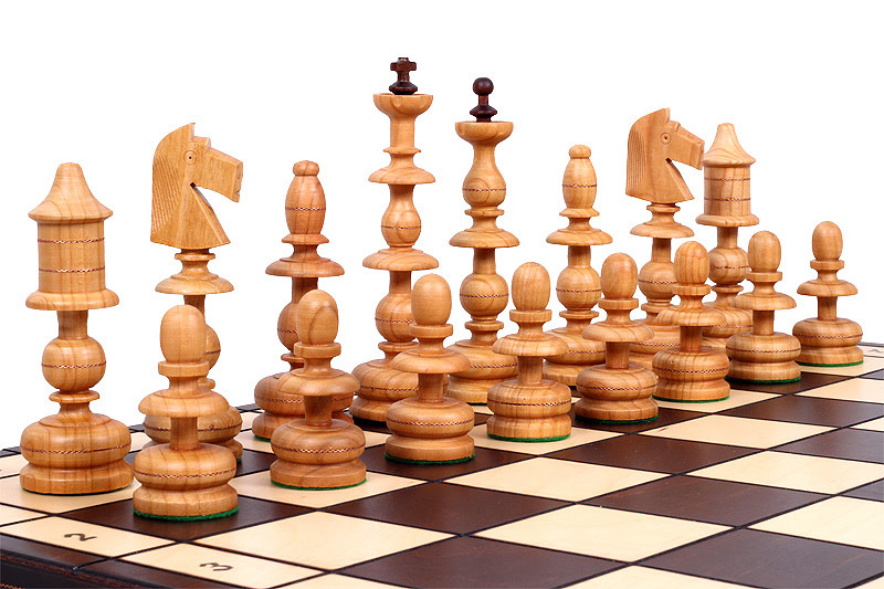 Exotic Chess Set, Hand Craved Wood Chess Pieces, Chess Board & Storage by