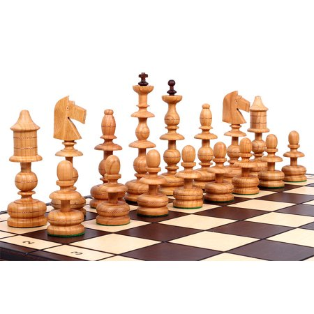 Exotic Chess Set, Hand Craved Wood Chess Pieces, Chess Board & Storage Hand Decorated Chess Set