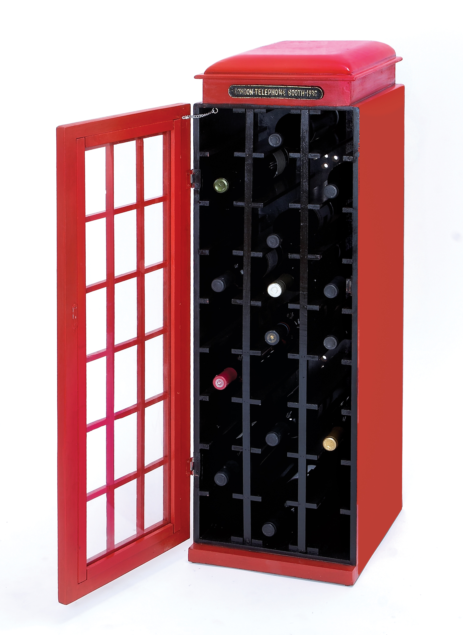 Decmode Modern 41 X 14 Inch Red British Telephone Booth 27-Bottle Wooden Wine Cabinet, Red by DecMode
