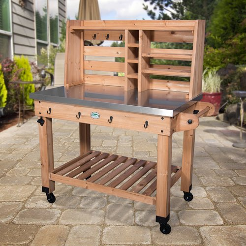 Backyard Discovery All Cedar Bar Serving Cart by