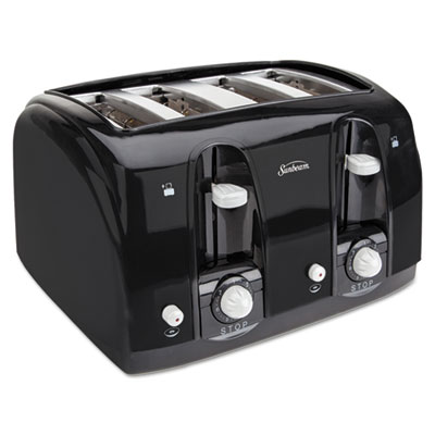 Extra Wide Slot Toaster, 4-Slice, 11 3/4 x 13 3/8 x 8 1/4, Black, Sold as 1 Each