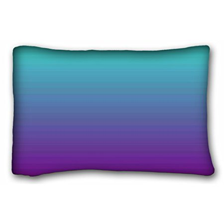 RYLABLUE Personalized Square Pillowcasess Simple Background Gradient Turquoise Blue Purple Pillow Case Cases Cover Cushion Covers Sofa Size 20x30 Inches Two Side - image 1 of 1