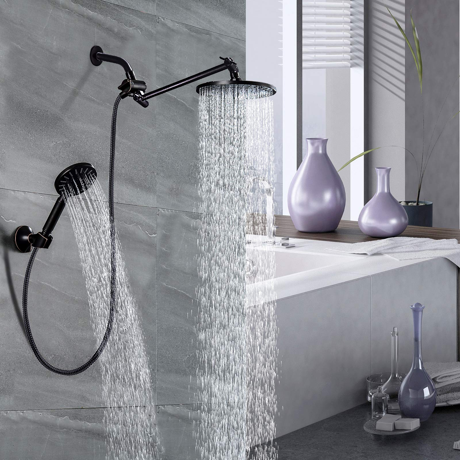 BRIGHT SHOWERS Four Spray Settings Shower Head Set Oil Rubbed Bronze and Black Finishing with 60 Long Stainless Steel Shower Hose