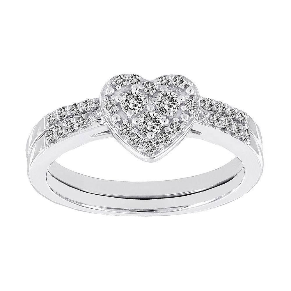 STAR RING INC H Star 10k White Gold 13ct Diamond Heart Wedding