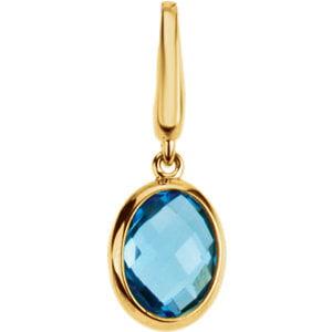 Jewels By Lux Genuine Swiss Blue Topaz Charm