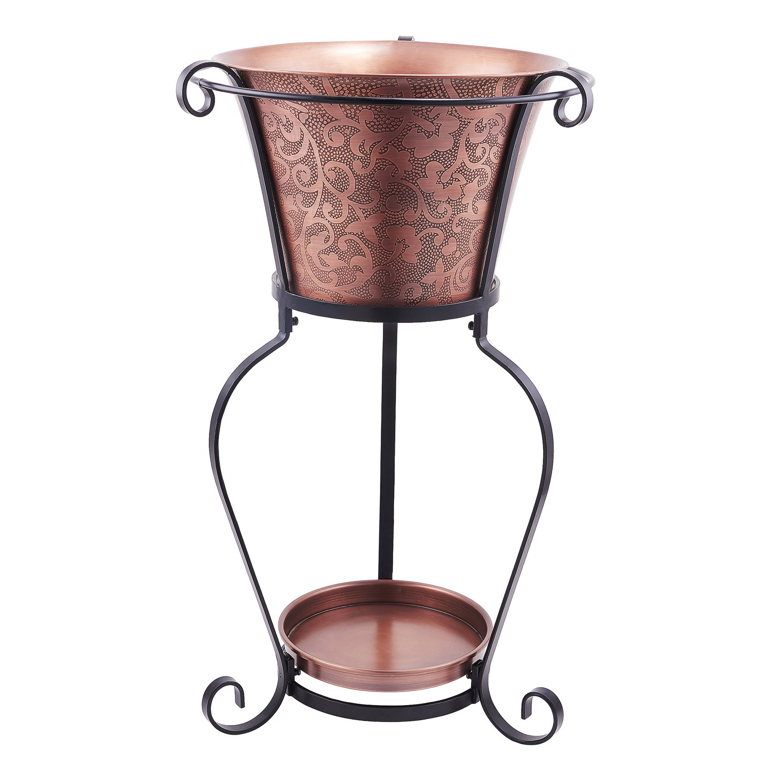 5 Gallon Solid Copper Etched Beverage Tub w/Stand,