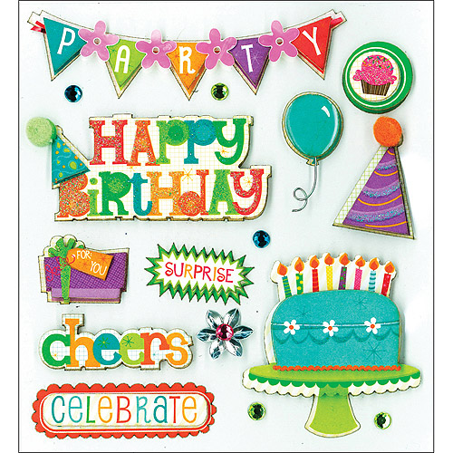K & Company Dimensional Stickers, Birthday Wish