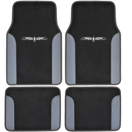 Bdk A Set Of 4 Universal Fit Plush Carpet With Vinyl Trim Floor Mats For Cars Truck Suv  Universal Fit