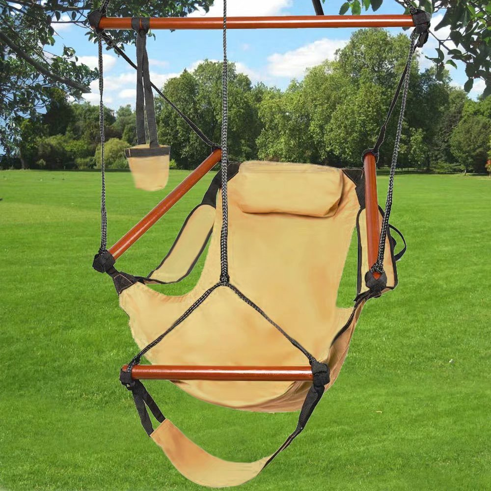 Brown Hammock Hanging Chair Nylon Outdoor Chair Solid Wood 250lb
