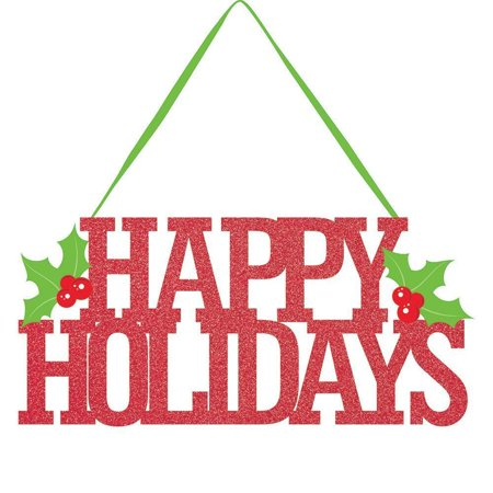 HAPPY HOLIDAYS GLITTER HANGING SIGN Happy Holidays Glitter Sign