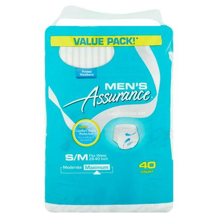 Mens Assurance Maximum S M Underwear  40 Count