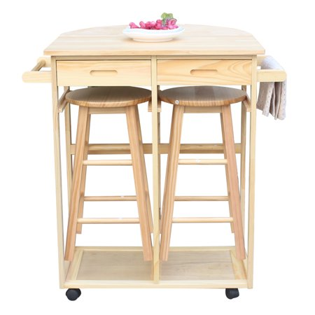Kitchen Carts on Wheels, 360 Degree Universal Turn Home Folding Kitchen Cart with 2 Storage Drawers and a Tower Bar, Natural Semicircle Dining Wooden Trolley Storage with 2 Bar Stools, Q1210 ()