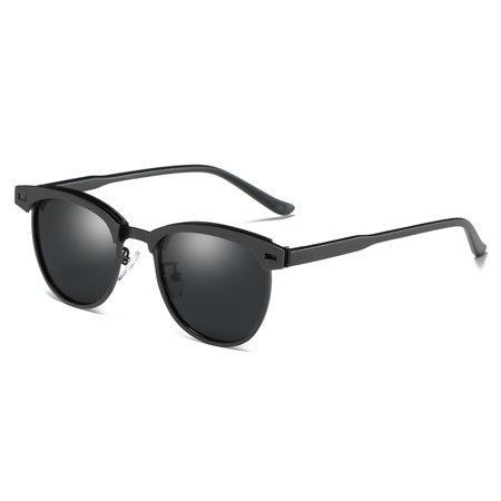 Cyxus Semi-Rimless Polarized Sunglasses for 100% UV Protection Driving Fishing, Matte Black Frame Gray Lens (Polarized Sunglasses For Driving)