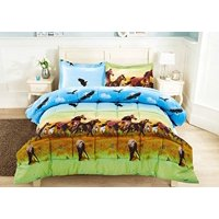 3 Piece Set Wild Horse and Eagle 3d Clearance bedding Comforter Set Fade Resistant, Wrinkle Free, No Ironing Necessary, Super Soft, All Size (Y25) Queen