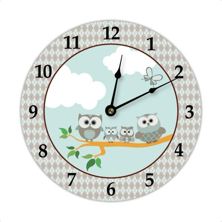 Louis Blues Personalized Clock (Owl Family Wall Clock, Teal & Brown, Clock measures 8.125