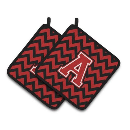 Carolines Treasures CJ1047-APTHD Letter A Chevron Black & Red Pair of Pot Holders, 7.5 x 3 x 7.5 in. - image 1 de 1