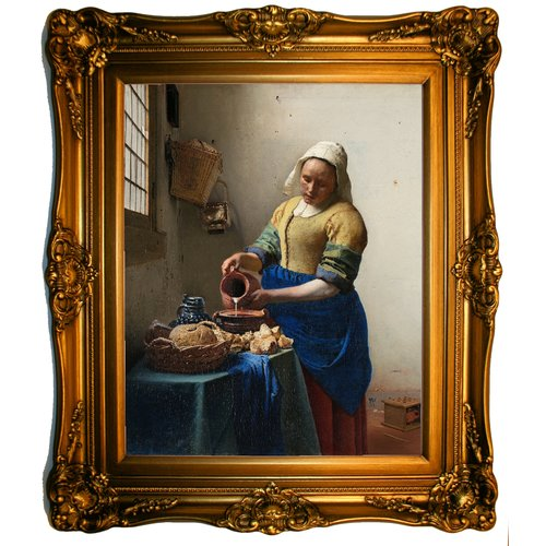 Historic Art Gallery 'The Milkmaid' by Johannes Vermeer Framed Painting Print