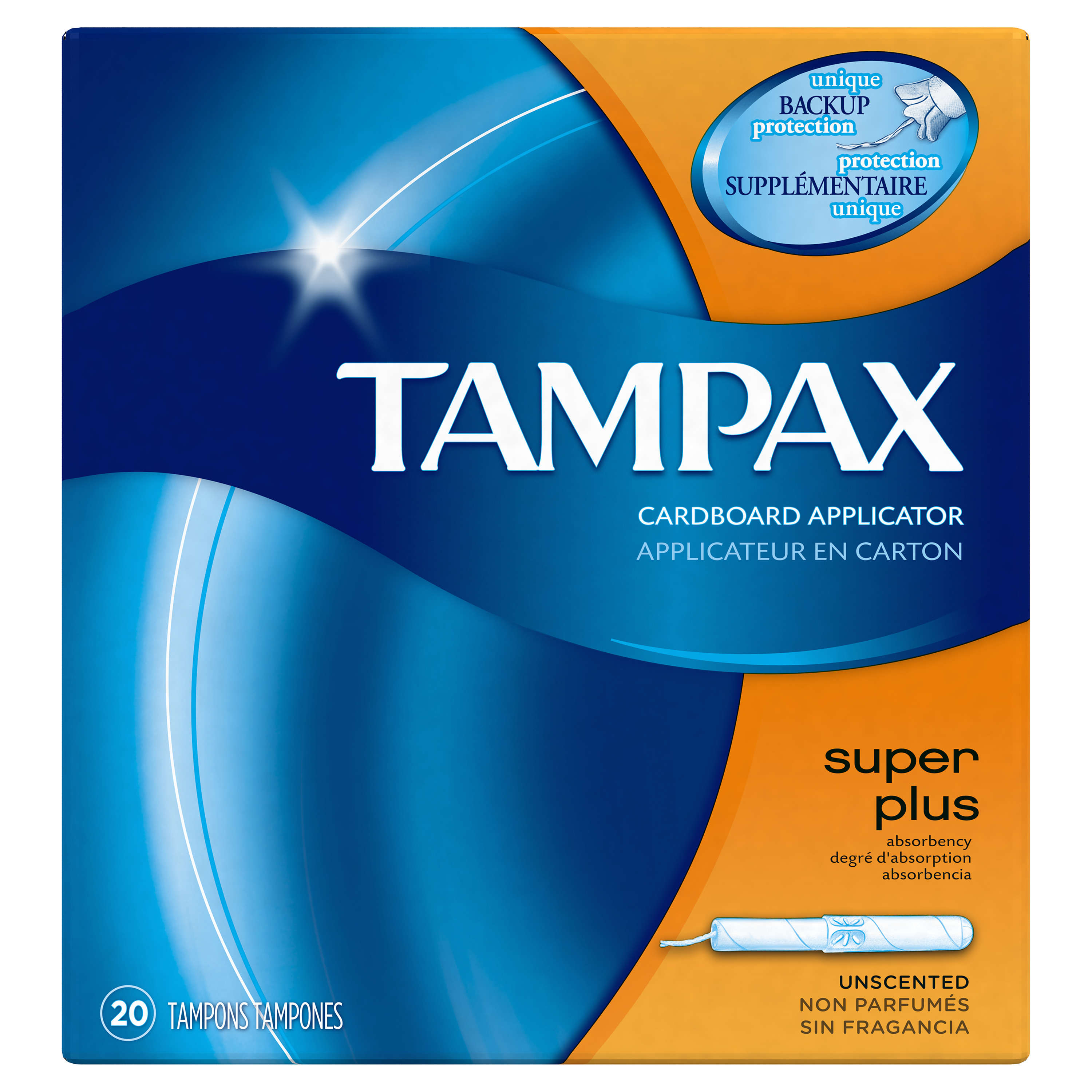Tampax Cardboard Super Plus Tampons, Unscented 20 Count