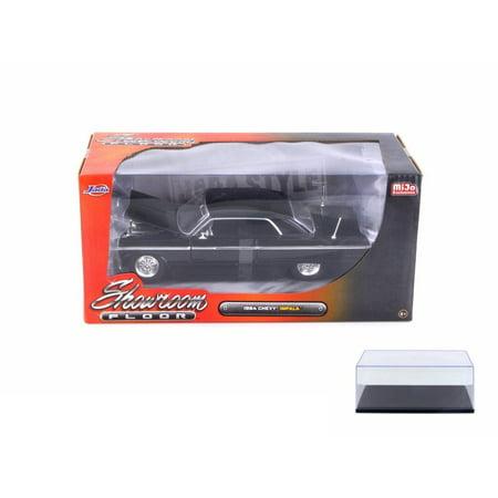 Diecast Car & Display Case Package - 1964 Chevy Impala, Black - Jada 98907-MJ - 1/24 Scale Diecast Model Toy Car w/Display Case
