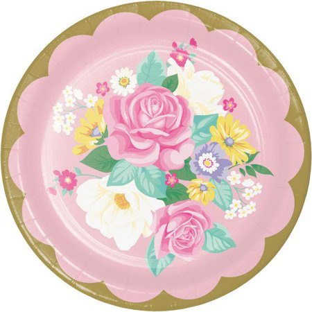 Creative Converting Floral Tea Party Paper Plates, 8 ct - Tea Party Party Supplies