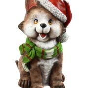 Alpine Corporation Christmas Cat Statue with Santa Hat and LED Lights - Cat With Santa Hat