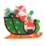 """17"""" Lighted Holographic Santa in Sleigh Christmas Window Silhouette Decoration"""